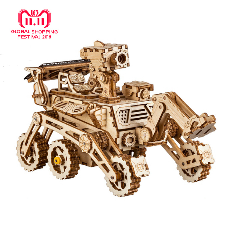 Robud Moveable Space Hunting Solar Energy Powered Toy 3D DIY Laser Cutting Wooden Model Building Kits Gift for Children Adult LS стоимость