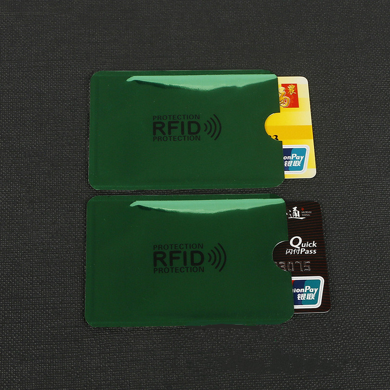 10 Pcs Green Anti-Scan Card Sleeve Credit RFID Card Protector Anti-magnetic Aluminum Foil Portable Bank Card Holder