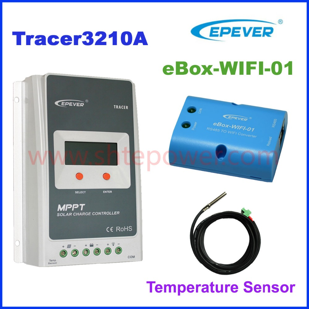 Trace3210A + WIFI BOX Mobile Phone APP EPsloar 30A MPPT Solar Charge Controller communication with Temp sensor mppt solar charge controller 30a mt50 monitor temp sensor
