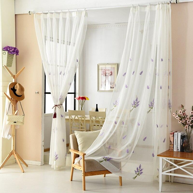 100% Lino púrpura lavanda patrón 3D bordado Tulle Sheer para sala de ...