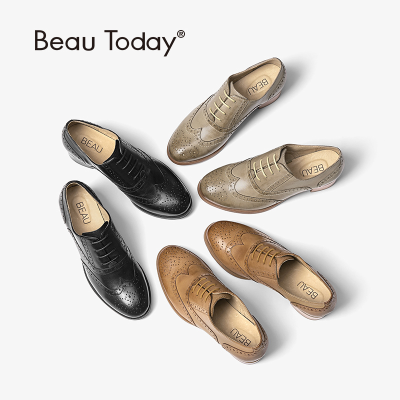 BeauToday Oxfords Women Pumps Top Brand Genuine Leather Sheepskin Wingtip Round Toe Lace up Brogues Shoes