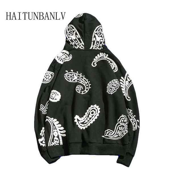 New Hip hop Graffiti pattern Big pocket fleece Big pocket sweatshirt Casual Harajuku Fashion Men's Hoodies