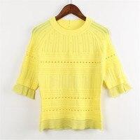 SRUILEE Runway T Shirt 2018 New Summer Fashion Week Tees Women T Shirt Pullover Hollow Out