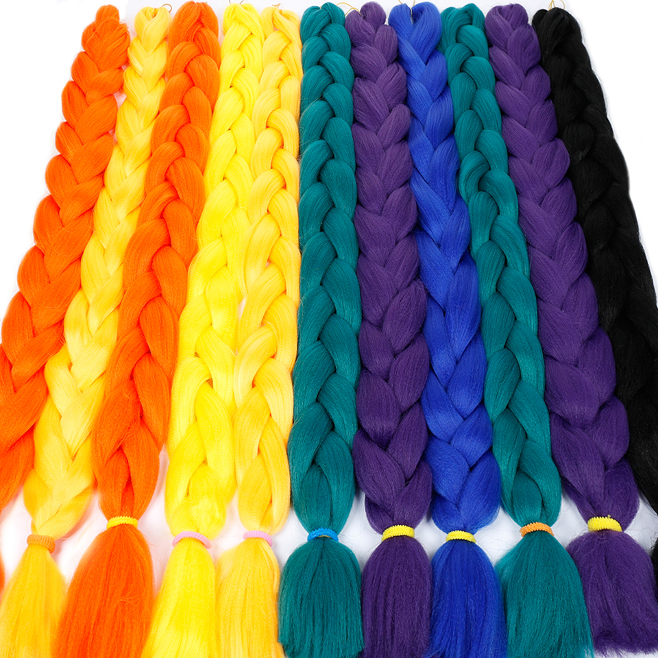 DIFEI Braid-Hair-Extensions Braiding Jumbo Hair-Crotchet Pink Purple Blue Synthetic Pure-Color