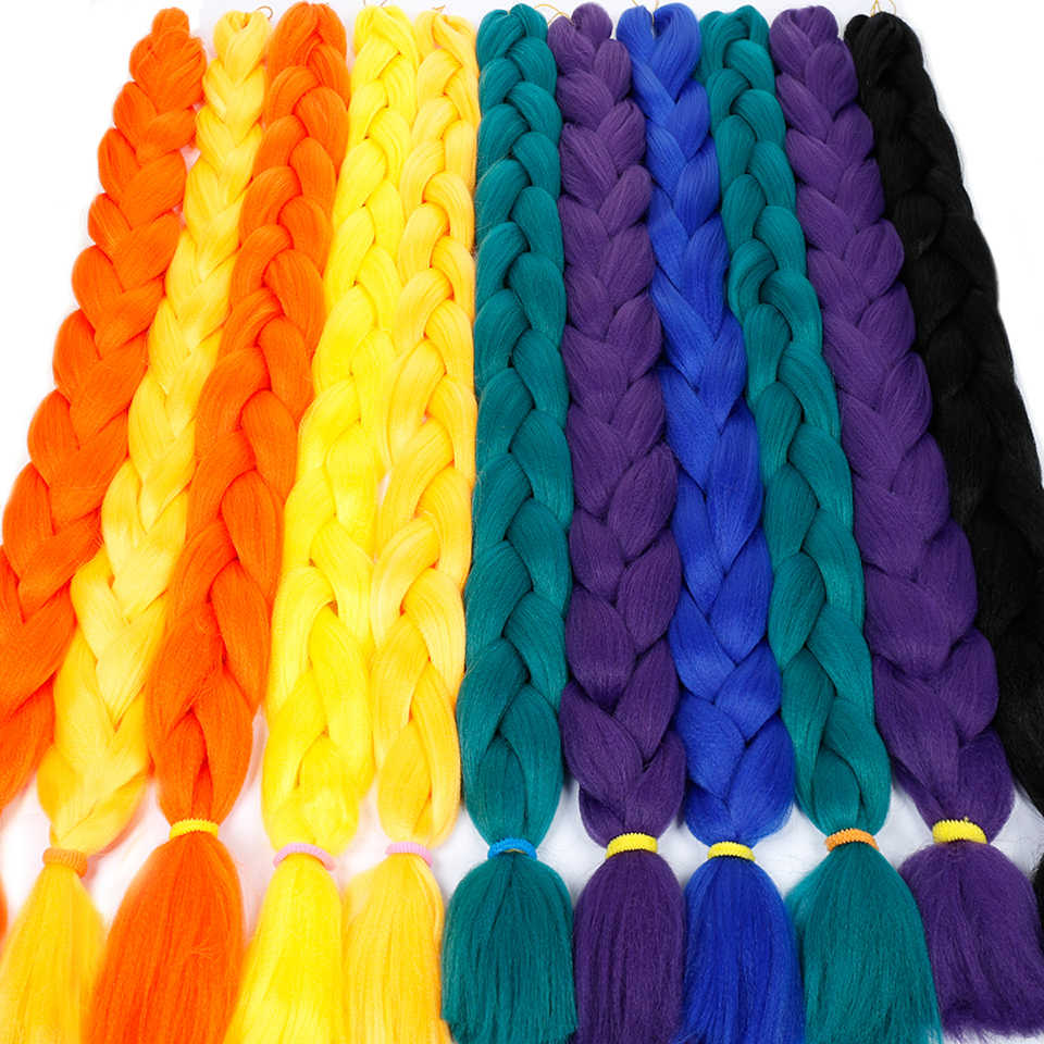 "DIFEI Synthetic 82"" Jumbo Braiding Hair  Crotchet Braids Pure Color Blue Pink Purple Braid Hair Extensions"