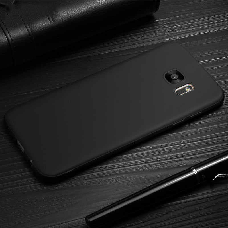 Matte Case for Samsung Galaxy A5 A7 A3 2017 J3 J5 J7 Prime 2016 A6 A8 A7 A9 J8 J4 J6 Plus 2018 Celular Black Soft TPU Back Cover