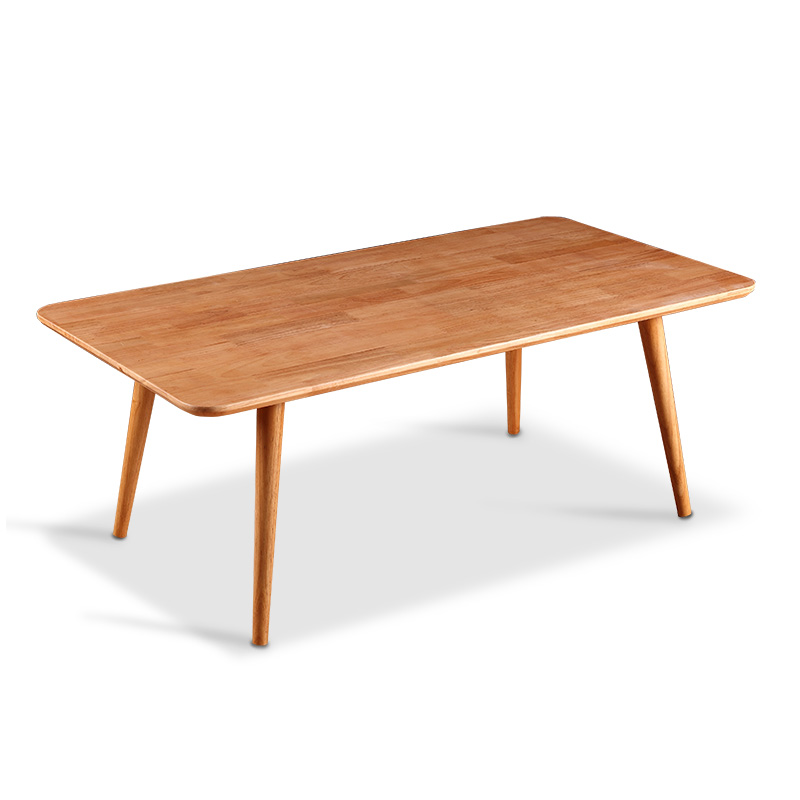 Mid century modern rectangular coffee table natural solid for Modern living room no coffee table