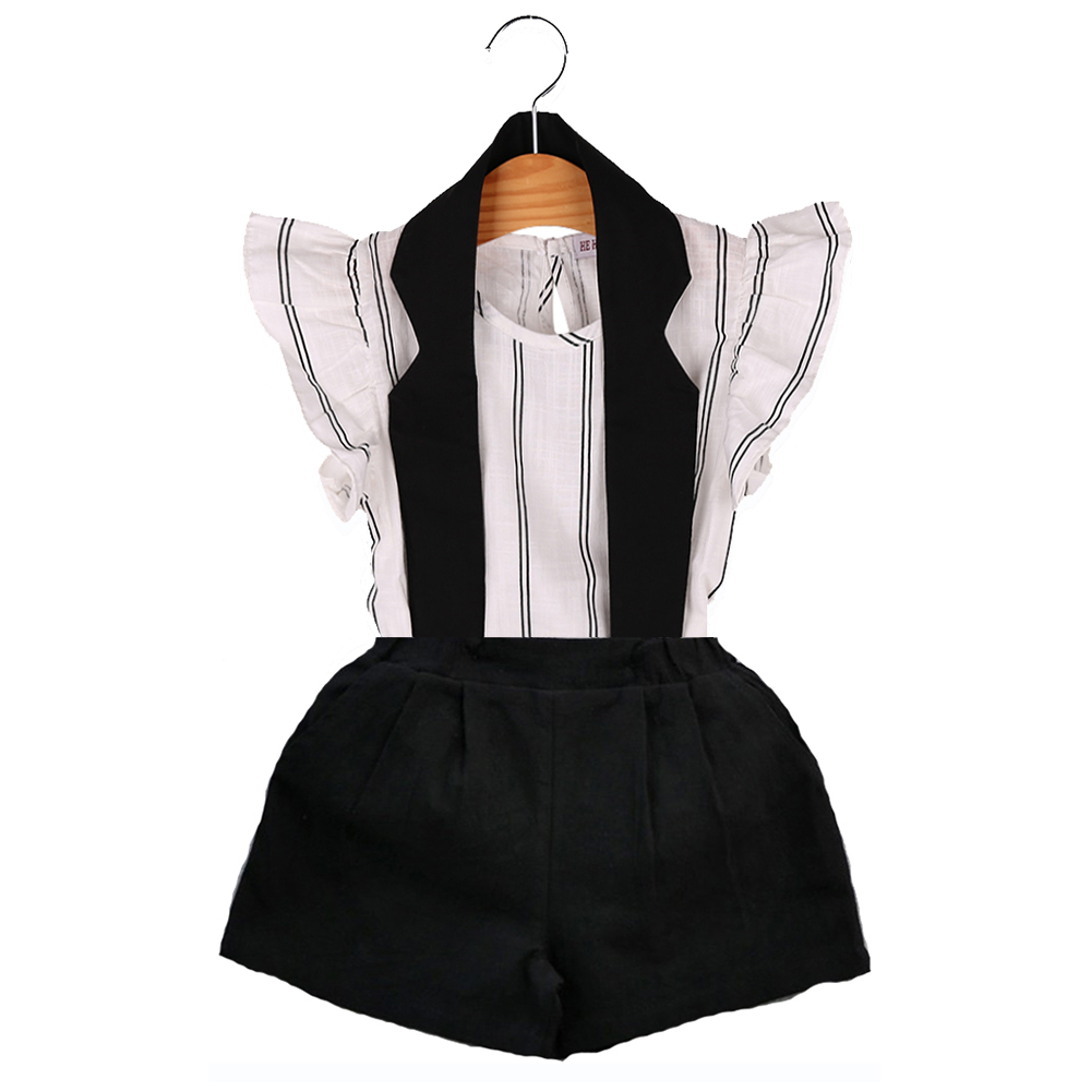 HE Hello Enjoy girls clothing sets 2016 Casual white and black kids clothes brand Striped vest T-shirt + Halter Bib clothing
