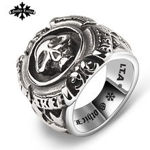 Designer Thumb Fashion vintage punk skull cross Skeleton male ring men's Stainless Steel Jewelry