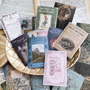 24PCS\SET Vintage Newspaper Old Book Cover Material Journal Paper For Scrapbooking Happy Planner/Card Making/Journaling Project