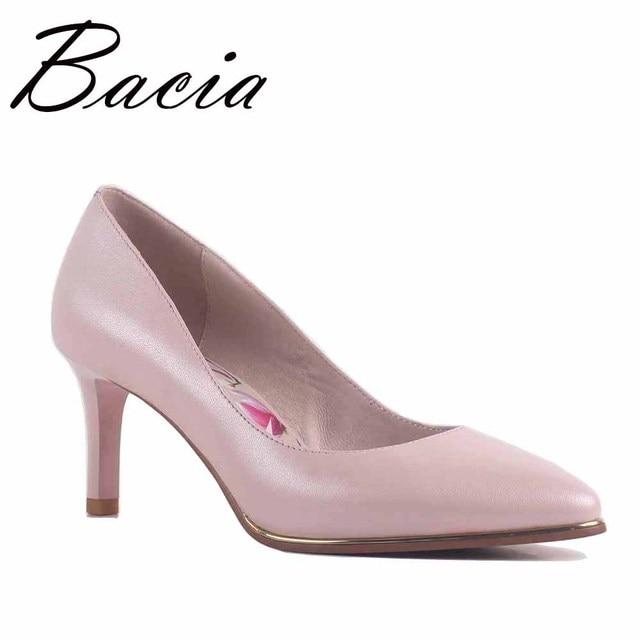 Bacia/Новый Лакированная кожа и овчины Насосы 8 видов цветов 6.8 см высокий каблук Насосы красный, черный, синий, розовый качества обувь с острым носком sa063