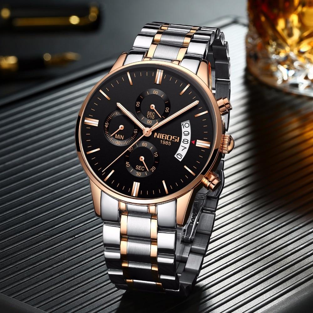 Color oro rosa reloj de los hombres de lujo de la marca superior de los hombres vestido de moda nueva pulsera de cuarzo militar caliente reloj hombre deporte NIBOSI