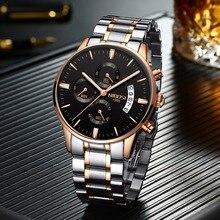 NIBOSI różowe złoto mężczyźni zegarek luksusowa tarcza marka męska zegarek moda wojskowy zegarek kwarcowy na nadgarstek zegar mężczyzna Sport Relogio Masculino