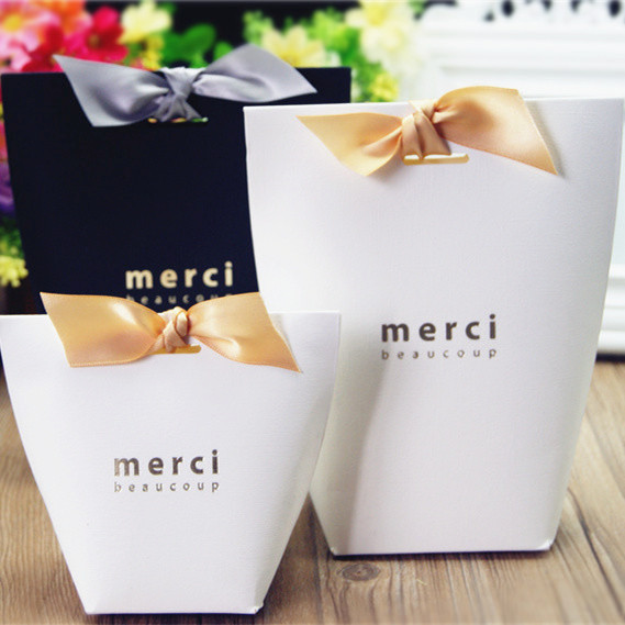 Free Shipping S And L Size Merci Beaucoup White Black Gift Paper