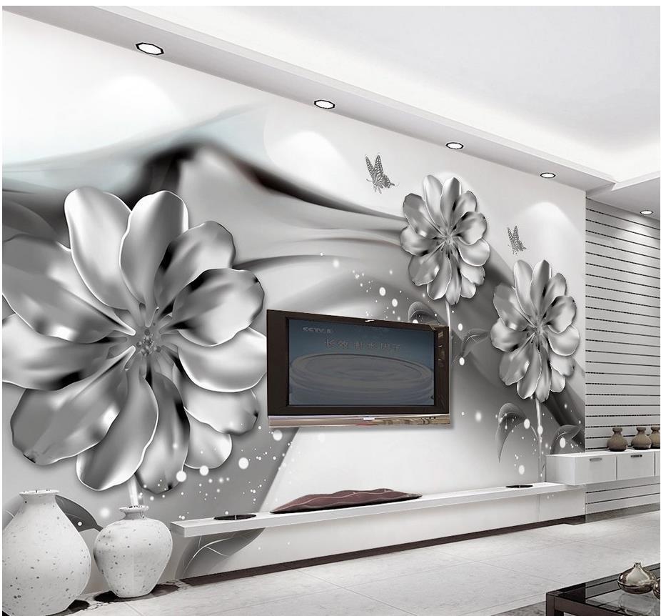 Cinza Wallpapers Murais De Parede 3d Papel De Parede Flor Preto E