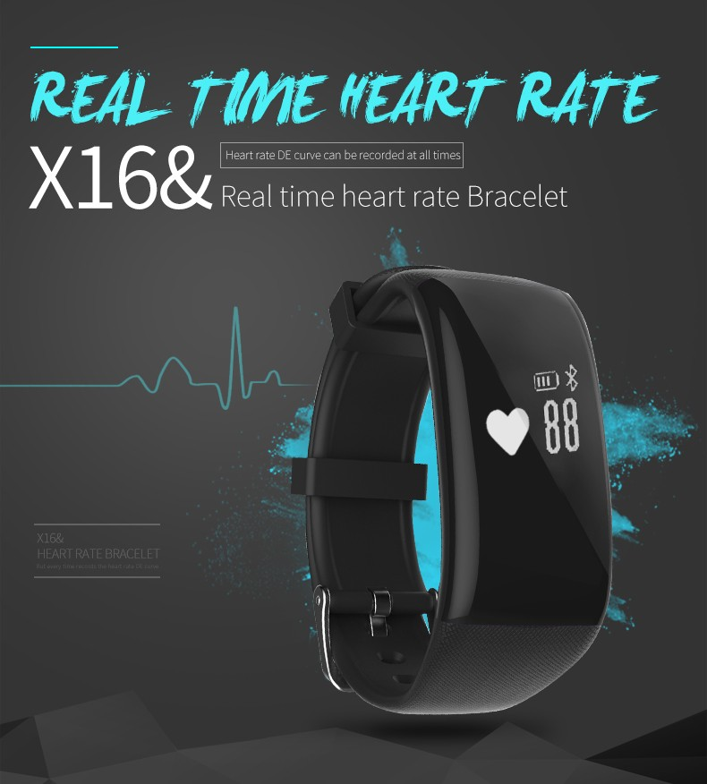 BEST Heart Rate Monitor Smart Band bracelet X16 Bluetooth 4 0 IP67 Waterproof Activity Tracker Wristband
