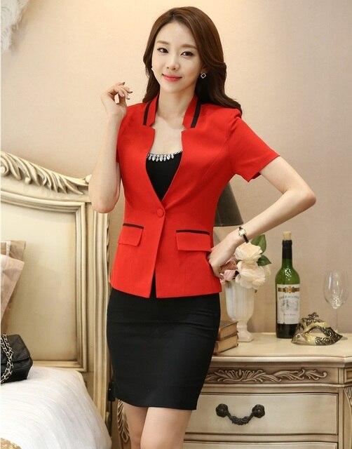 34f74d0de902 Summer Formal Office Uniform Designs Women Business Suits Elegant Skirt and  Jacket Sets Red Blazer Ladies Work Wear Clothes