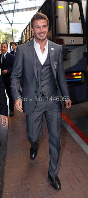 Gray David Beckham Groom Suit Custom Made Tuxedos For Men Groomsman Bridegroom Wedding Best Man Suits ( jacket+Pants+vest+tie)