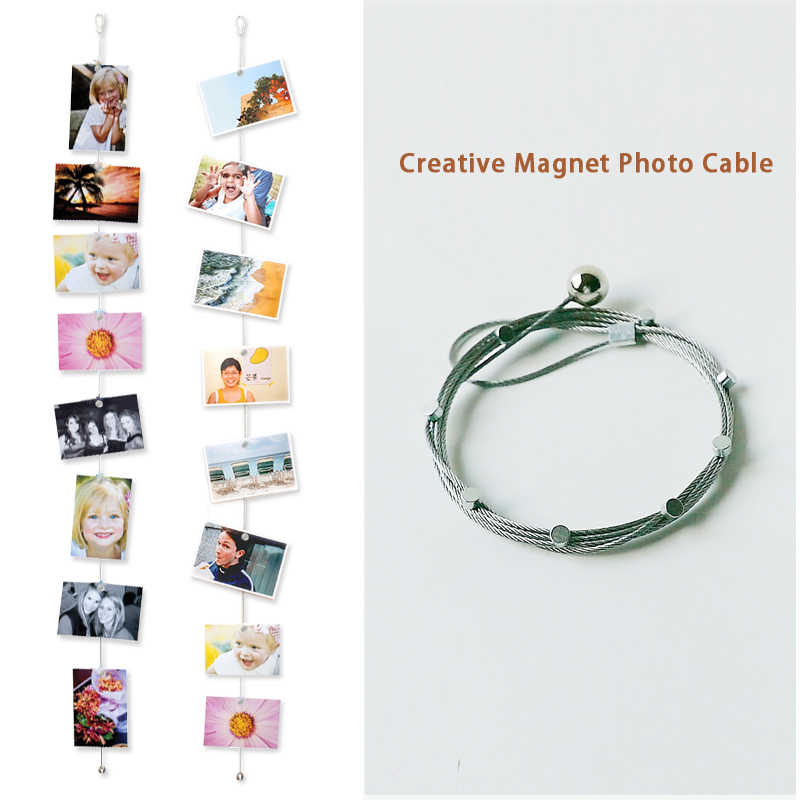 1.5/3M Magnetic Cable Photo Frame Buckle Anniversary Easter Wall Art Hanging Banner Photo Rope Picture String Home Decorations