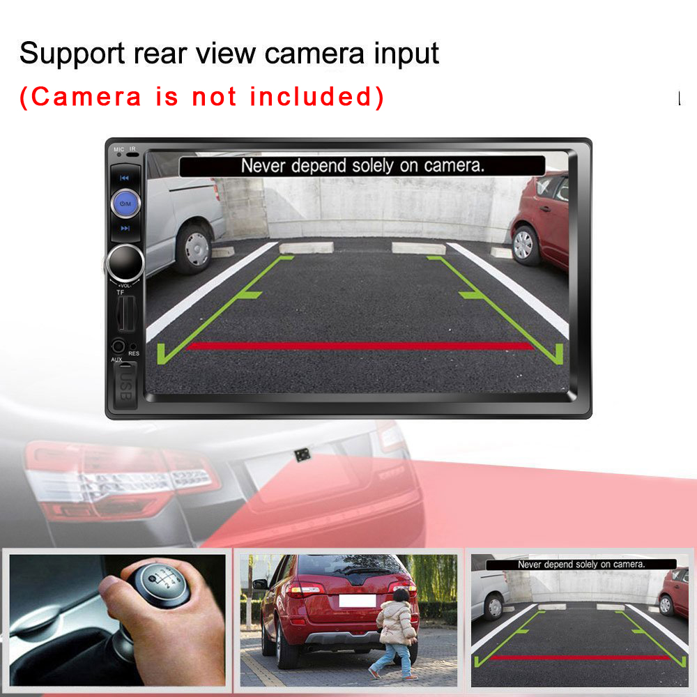 Hikity Car Radio Player Mirror Link Autoradio 2 Din 7'' LCD Touch Screen Car Stereo MP5 Bluetooth Auto Stereo Rear View Camera