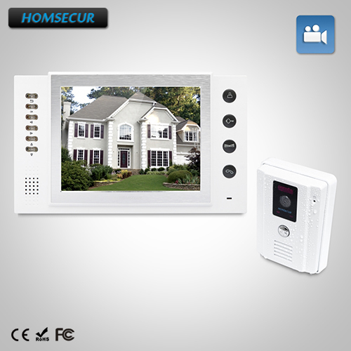 HOMSECUR 8 Video Door Entry Security Intercom+White Camera for Apartment : TC011-W Camera(White)+TM801R-W Monitor(White) homsecur 8 wired hands free video door entry security intercom lcd color screen tc011 w tm801r b