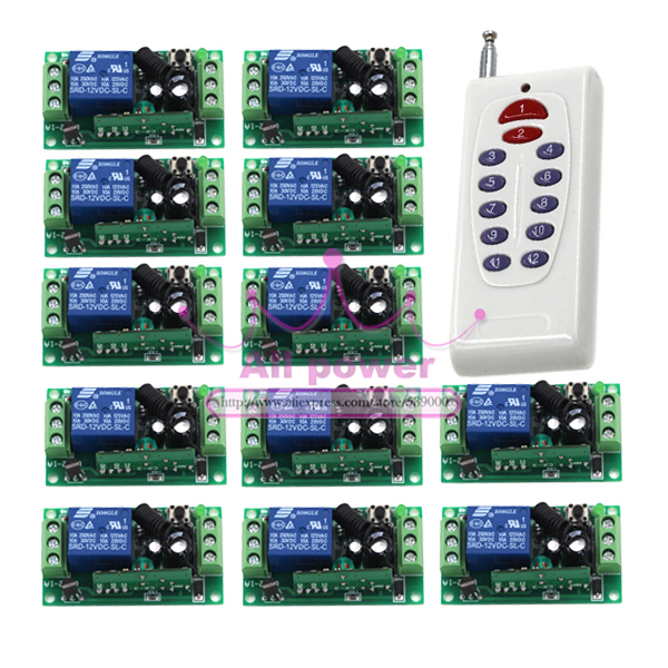 DC 12V 1CH wireless remote control switch system RF Remote ON/OFF 10A relay Switch Transmitter with Receiver+Cover цена