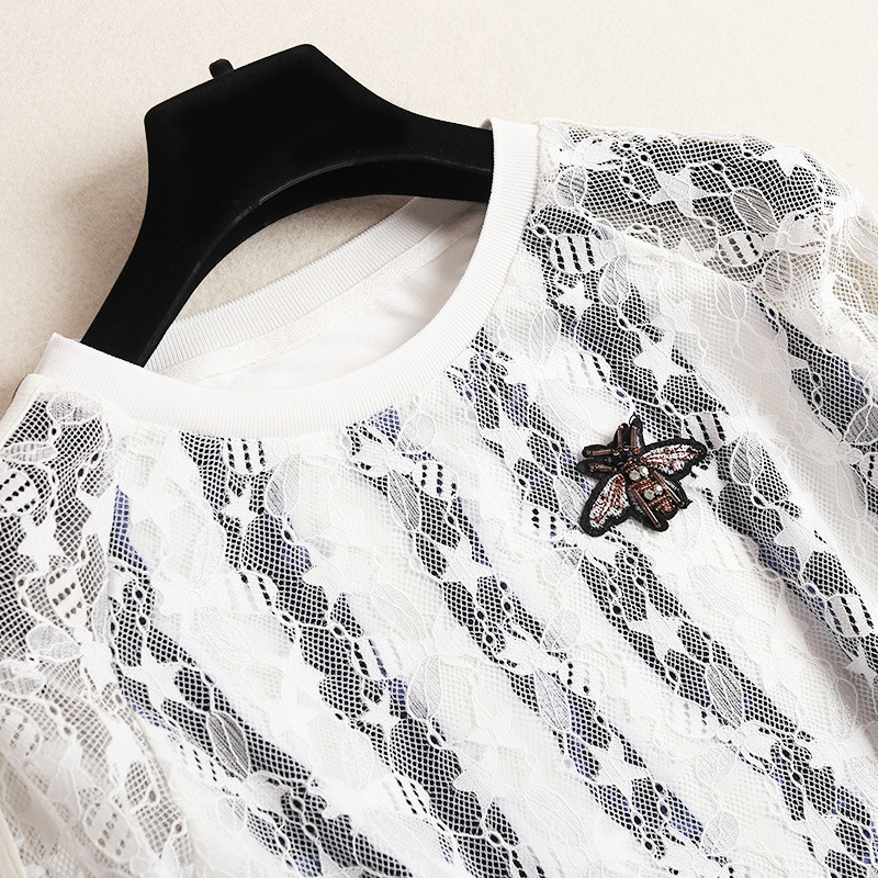 Shuchan Lace Women Clothing Set For Summer Top With Long Sleeve +mini Skirts Streetwear 2019 Designer 2 Pieces Set New 50699