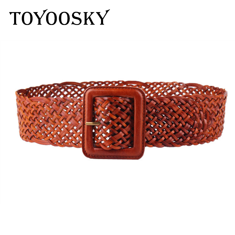 2018 Vintage Women Wide Kintted Belt Cowskin Belt For Woman Lady Elegant Knitted Genuine Leather Belt With Pin Buckle  TOYOOSKY
