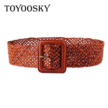 2018 Vintage Women Wide Kintted Belt Cowskin for Woman Lady Elegant Knitted Genuine Leather with Pin Buckle  TOYOOSKY