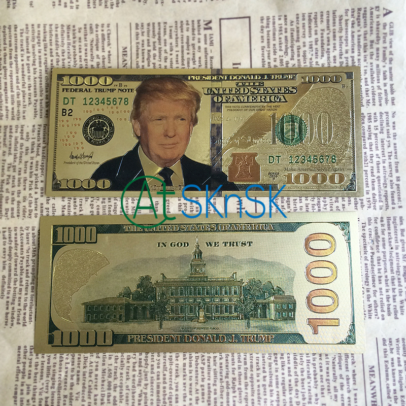 10pcs lot Latest arrival Commemorative verson colorful America 1000 dollars Gold Foil plated Banknote Trump fake