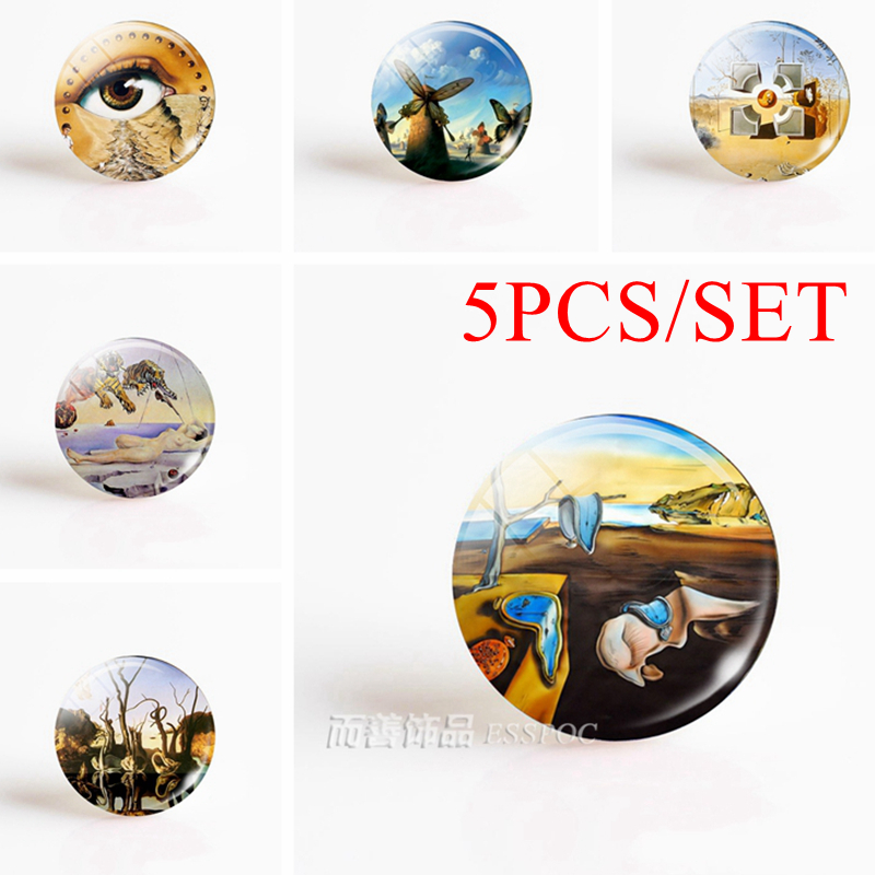 5PCS/SET Salvador Dali Art 12/16/20/25/30mm Round Accessories Glass Cabochon DIY Pendant Handmade Jewelry Making Blank Base