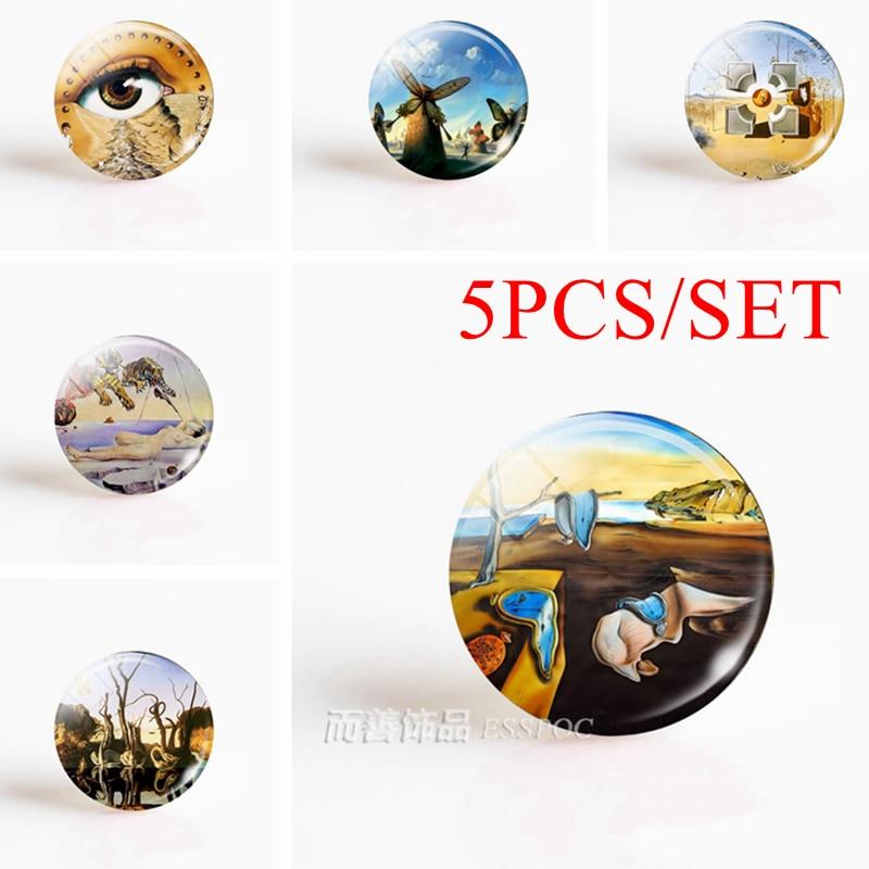 5 pièces/ensemble Salvador Dali Art 12/16/20/25/30mm rond accessoires verre Cabochon bricolage pendentif fait main bijoux fabrication de Base vierge