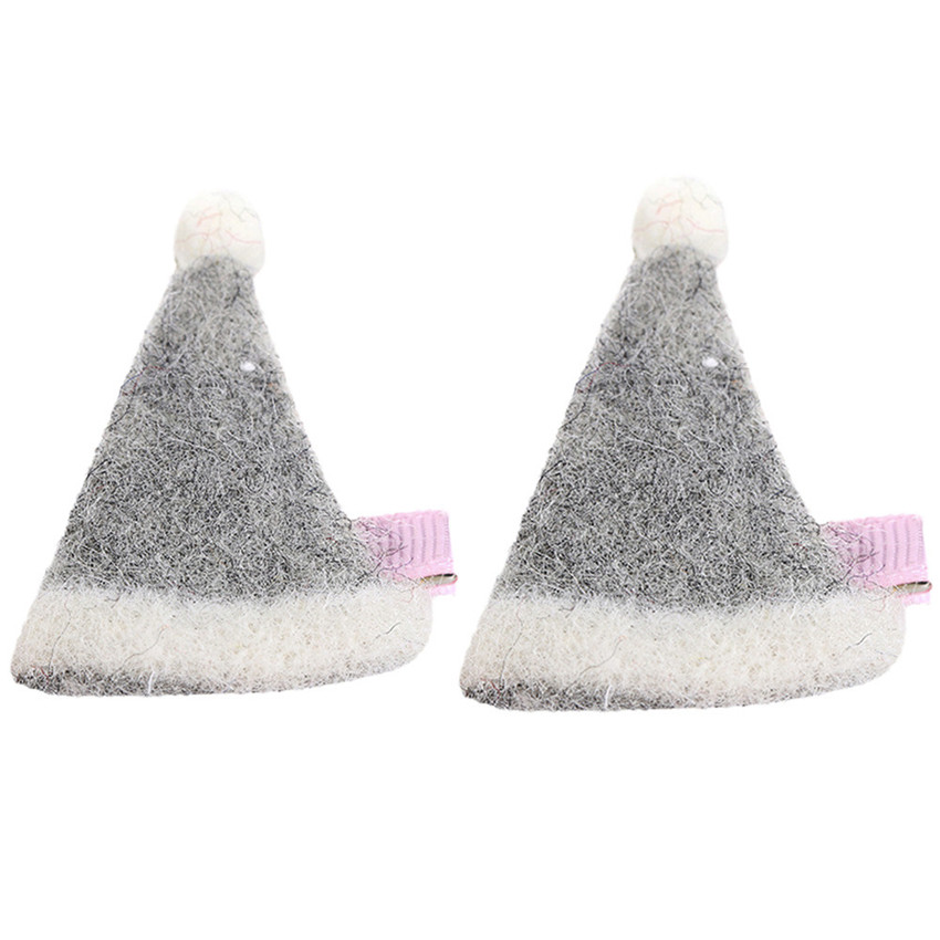 NEW 2Pcs Kids Baby Girl cute Sweet Cartoon Christmas hats Hair Clip Set charming Headdress
