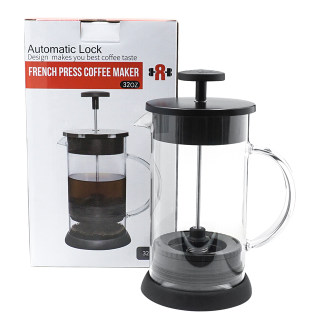 Stainless French Press Pot Coffee Maker Plunger Gl Tea Pots 1000ml For
