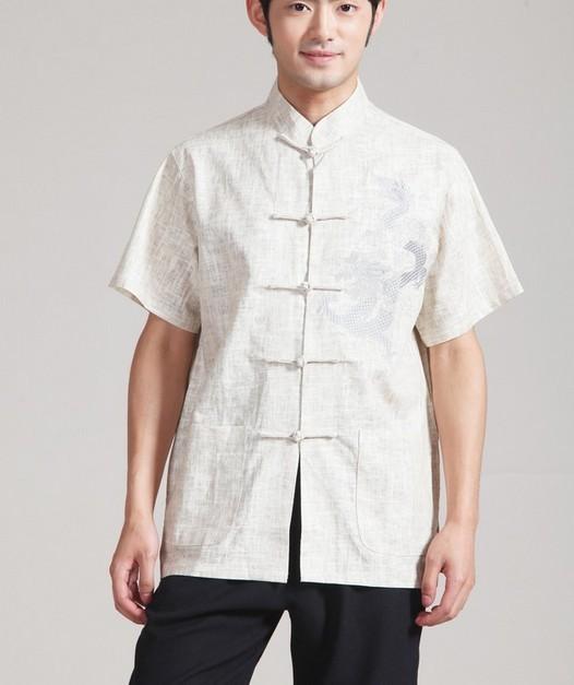 Superior de la venta Beige hombres camisa de algodón de lino superior chino Kung Fu Vintage manga corta traje de espiga ropa sml XL XXL XXXL MS005