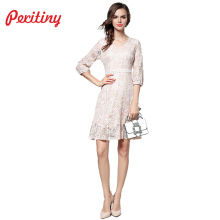 Peritiny Autumn Women Dress 2018 Ruffles Sexy V Neck Hollow Out Ukraine Robes Female Costume Black Pink Lace Dresses Women