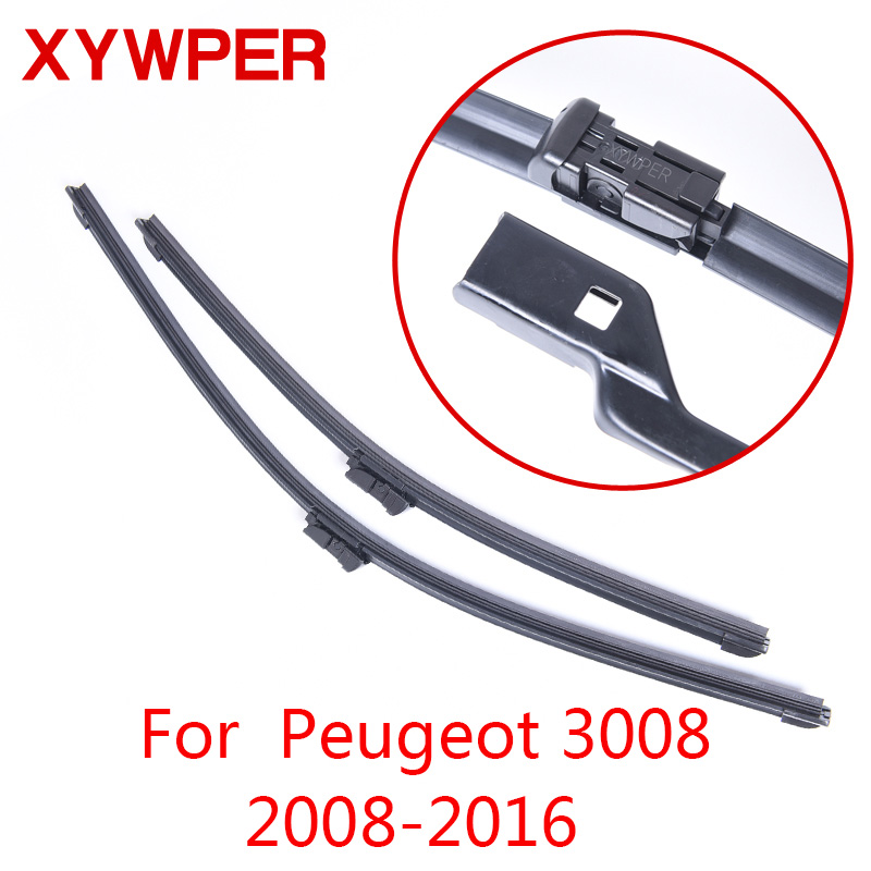 XYWPER Wiper Blades for Peugeot 3008 2008 2009 2010 2011 2012 2013 2014 2015 2016 Car Accessories Soft Rubber windscreen wipers image