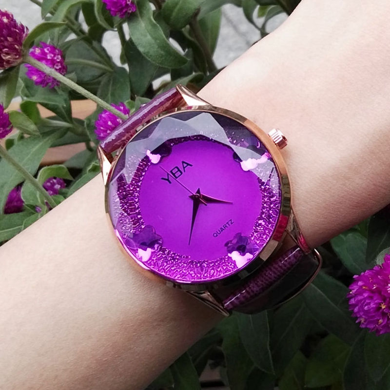 2019 Fashion The New Female Student Young Women Gold Large Dial Quartz Watch Butterfly Rhinestone Leather Strap Waterproof Watch