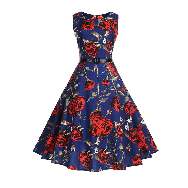 Floral Print Vintage Summer Dress Women 2018 Tunic Sleeveless 50s Belt Rockabilly Elegant Party Dresses Vestidos Robe