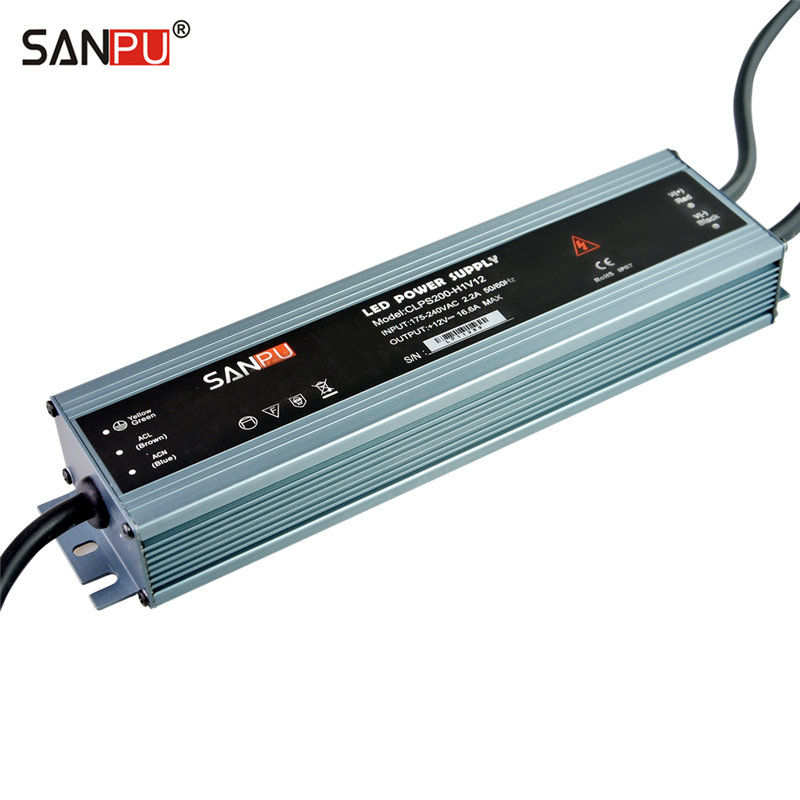 SANPU 12 Volt Waterproof LED Power Supply 12V DC 150W 12A IP67 110V 220V AC-DC Lighting Transformer Driver Thin Slim Aluminum