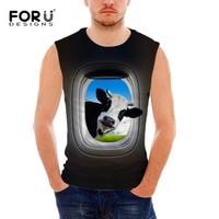 FORUDESIGNS 2017 New Fashion Men S Tank Tops 3D Animal Cows Giraffe Print Black Sleeveless Clothing