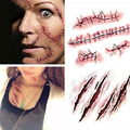 Halloween Zombie Scars Tattoos With Fake Scar Bloody Costume Makeup Halloween Decoration Terror Wound Scary Blood Injury Sticker