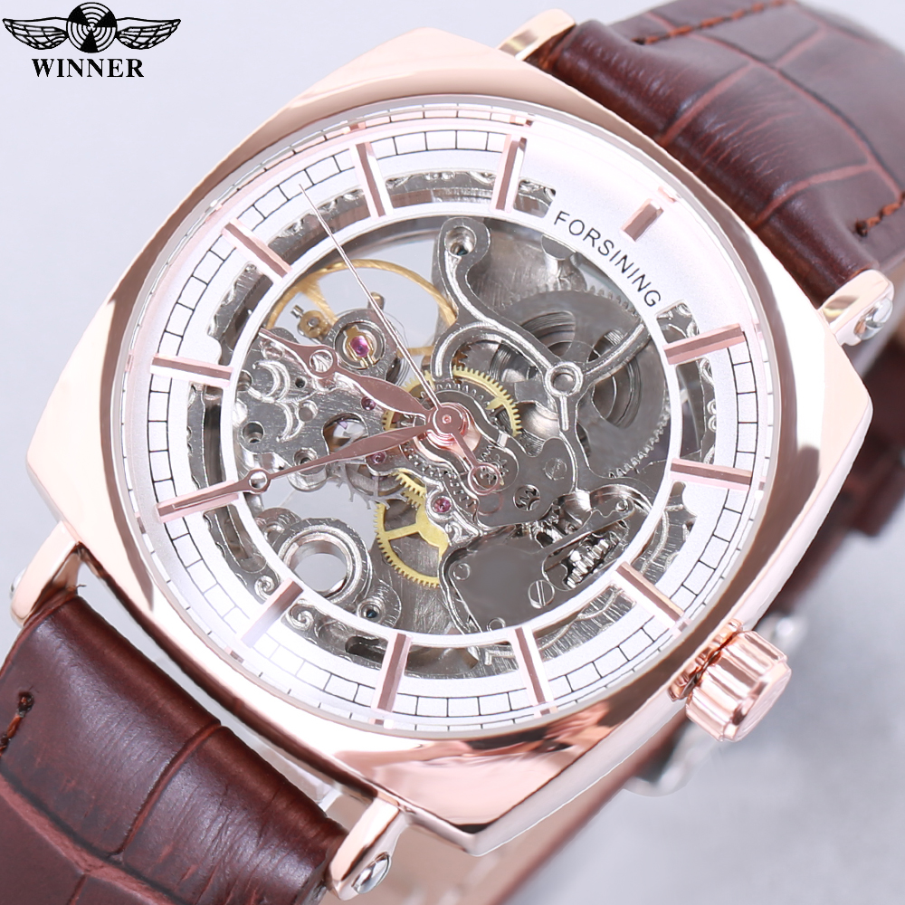 Forsining Brown Genuine Leather Fashion Royal Luxury Rose Golden Transparent Skeleton Men Automatic Mechanical Watches Top Brand forsining brown leather belt golden bezel transparent case steampunk double sided hollow men automatic watches top brand luxury