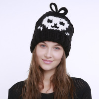 2017 Autumn Winter New Woman Knitted Wool Beanies Hat Skull Pattern Hallowmas Gift Female Funny Skullies