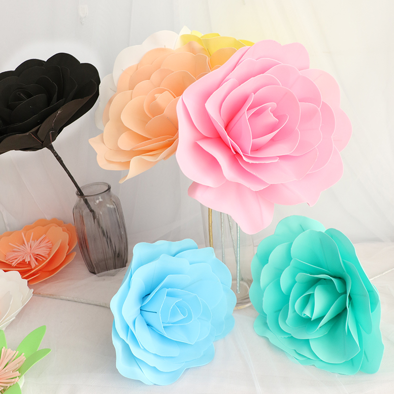 30cm גדול קצף רוז פרח מלאכותי קישוט החתונה עם שלב אביזרים בית DIY Decor Decorative פרחים דקורטיביים זרים