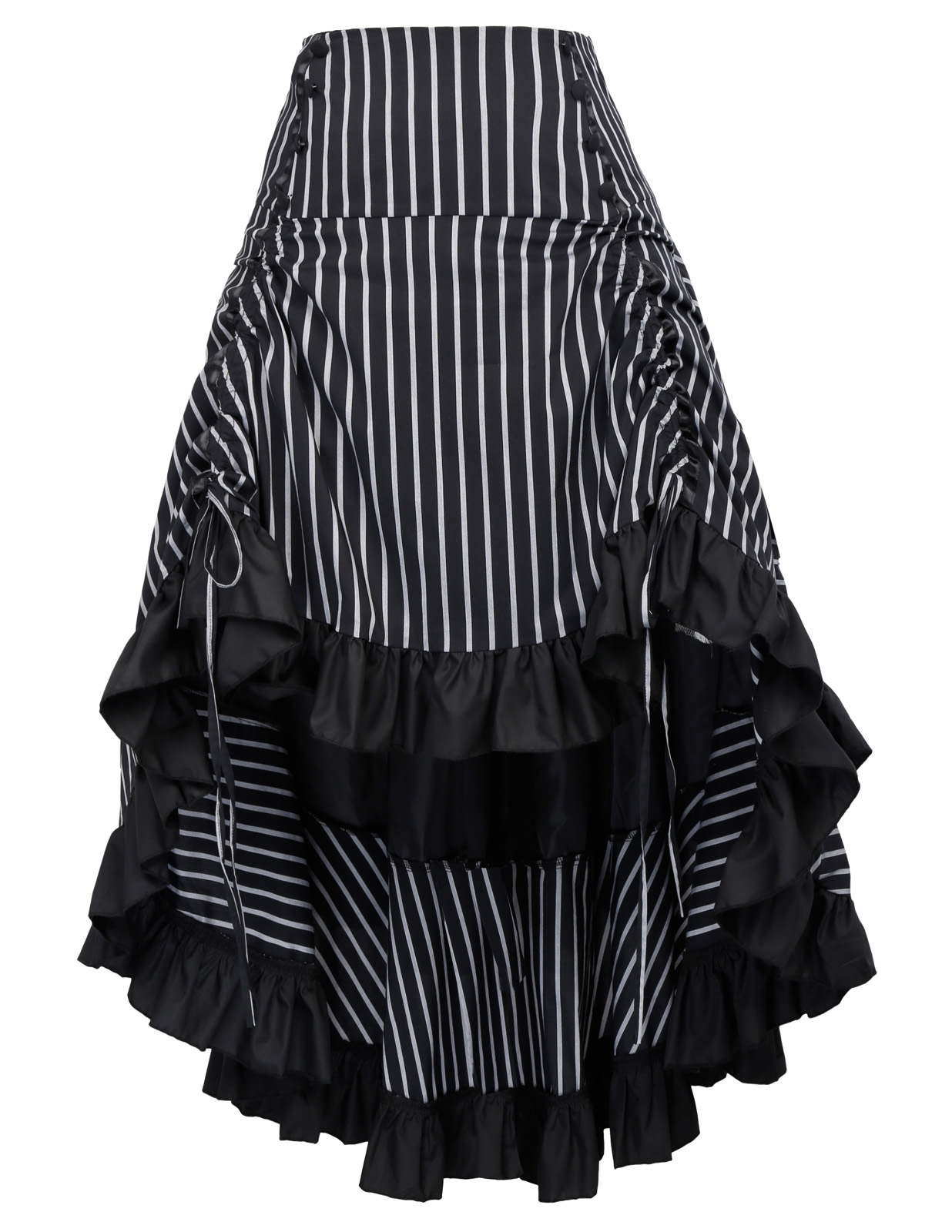 plus size women vintage skirt summer casual Striped Gathered Steampunk High-Low retro Skirt