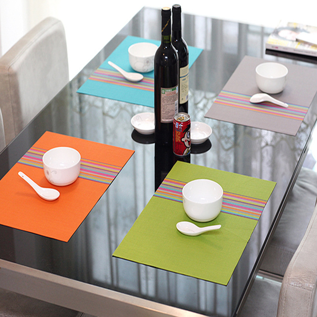 4PCS European Style Pvc Anti Hot Placemats Dining Table Mats Western Pad  Tableware Utensil Restaurant