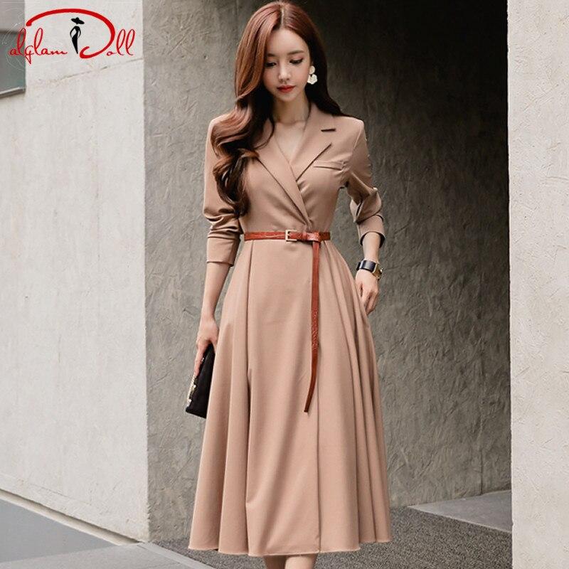 Women Autumn 2018 Slim Full Sleeve Swing Dress Belt Notched Long Blazer Vestidos Office Work Camel