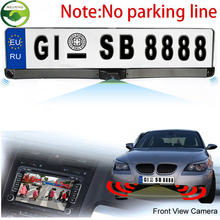 Universal License Plate Frame With Two Reversing Radar Parking sensors And PAL/NTSC Auto Camera Car Rearview Reverse Camera