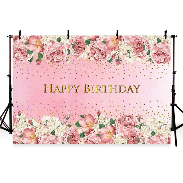 7x5 pink flowers photography backdrops happy birthday background for